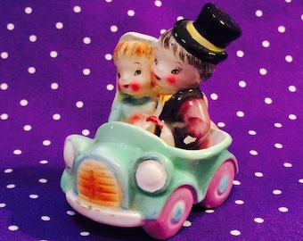 PY Miyao Bride and Groom in their Convertible Sports Car Salt and Pepper Shakers made in Japan circa 1950s