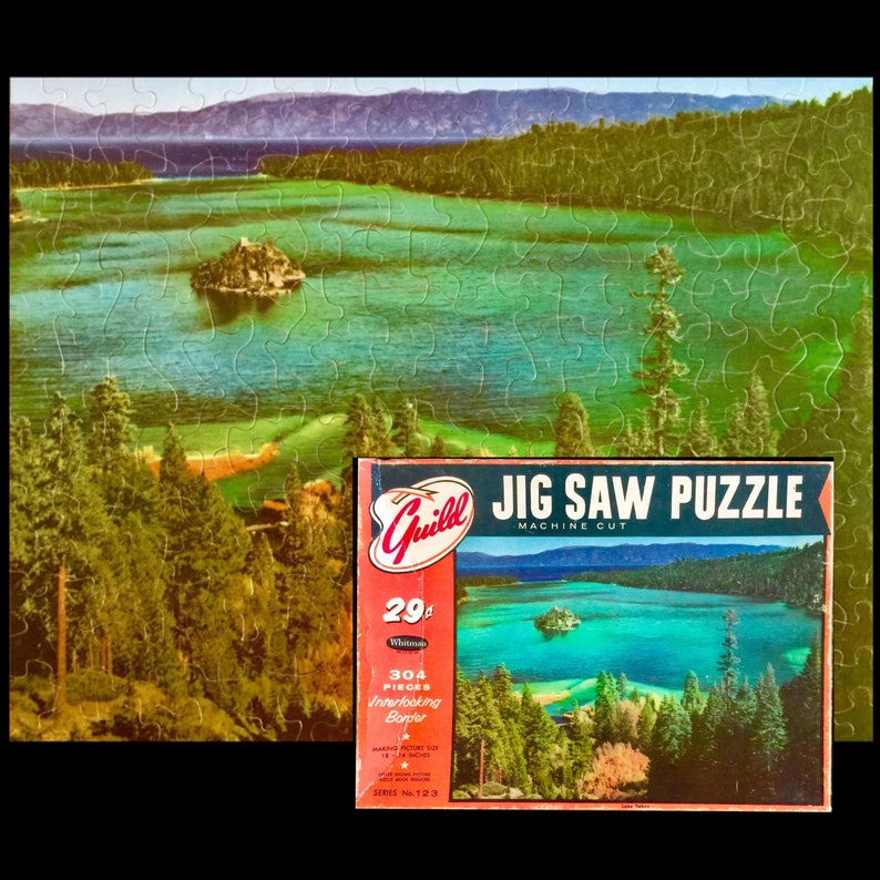 Whitman Guild Jigsaw Puzzle Lake Tahoe made in the image 0