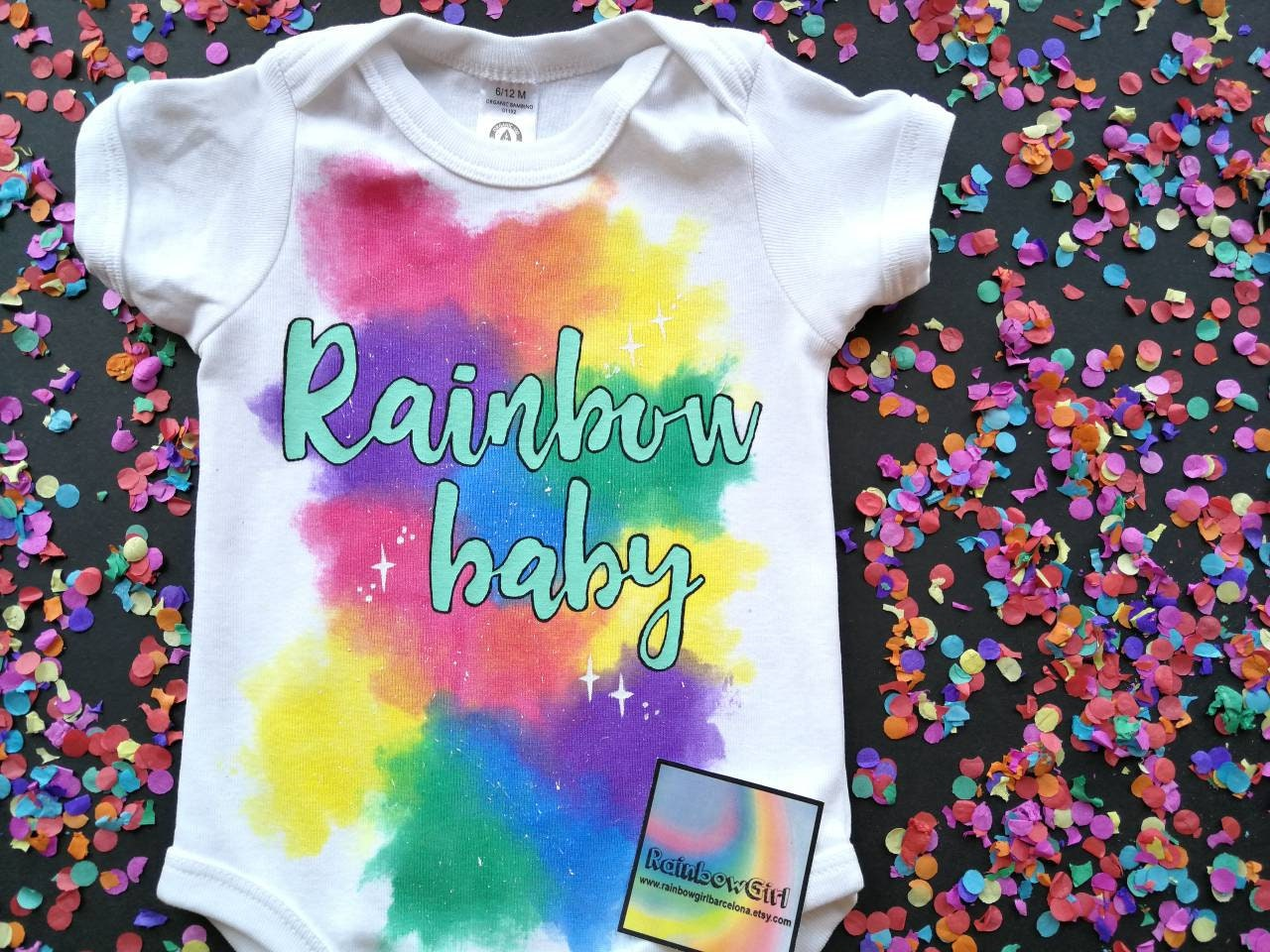 Rainbow baby hand painted baby bodysuit or shirt made of 455c734bd1cae