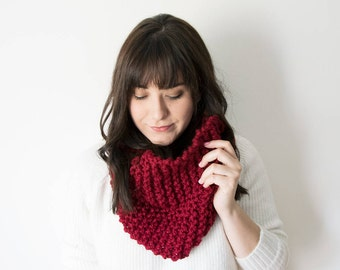 Knit Scarf Chunky Infinity Red Cowl in *Ruby* - The 'Sokoke' Chunky Knitted Cowl