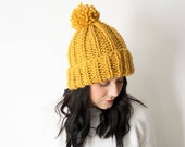 Knit Hat Chunky Knitted Winter Tuque - Yellow with Pom in *Mustard* - The 'Peregrine' Hat - Handmade Slouchy Rib Beanie