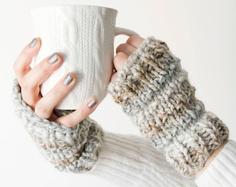 Knit Fingerless Gloves - The 'Alpine' Knitted Mitts, Wool Arm Warmer Mittens - in Limited Edition colour *Sand* - Beige White Wave