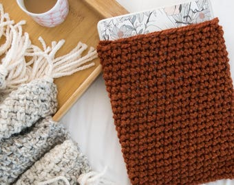 Orange Laptop Sleeve - Knit Laptop Cozy - Chunky Knitted Crochet Burnt Orange Macbook Air Case