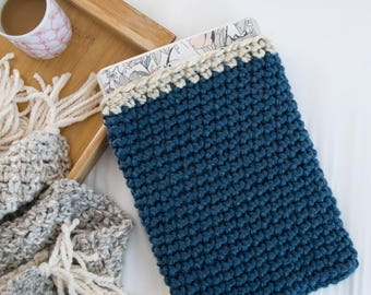 Blue Laptop Sleeve - Denim Knit Laptop Cozy - Chunky Knitted Crochet Blue Beige Macbook Air Case