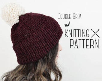 Knitting Hat Pattern Knit Double Brim Tuque - Red Slouchy Beanie PomPom Tutorial