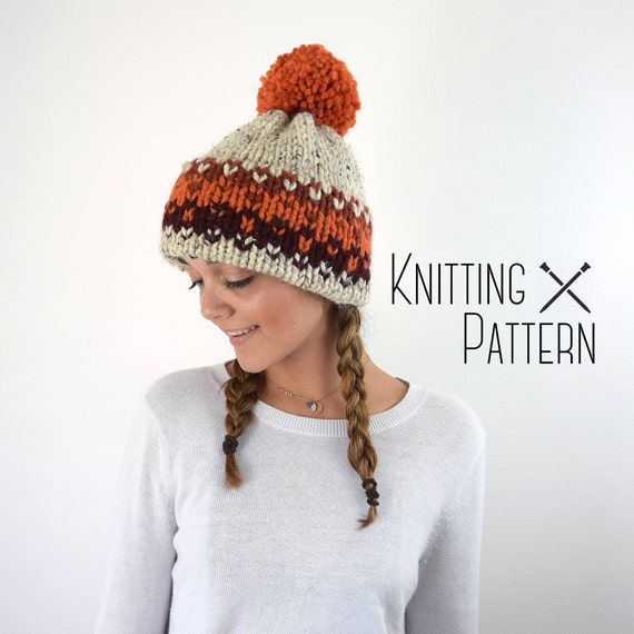 Knit Hat Pattern Knitted Fair Isle Double Brim Tuque Orange | Etsy