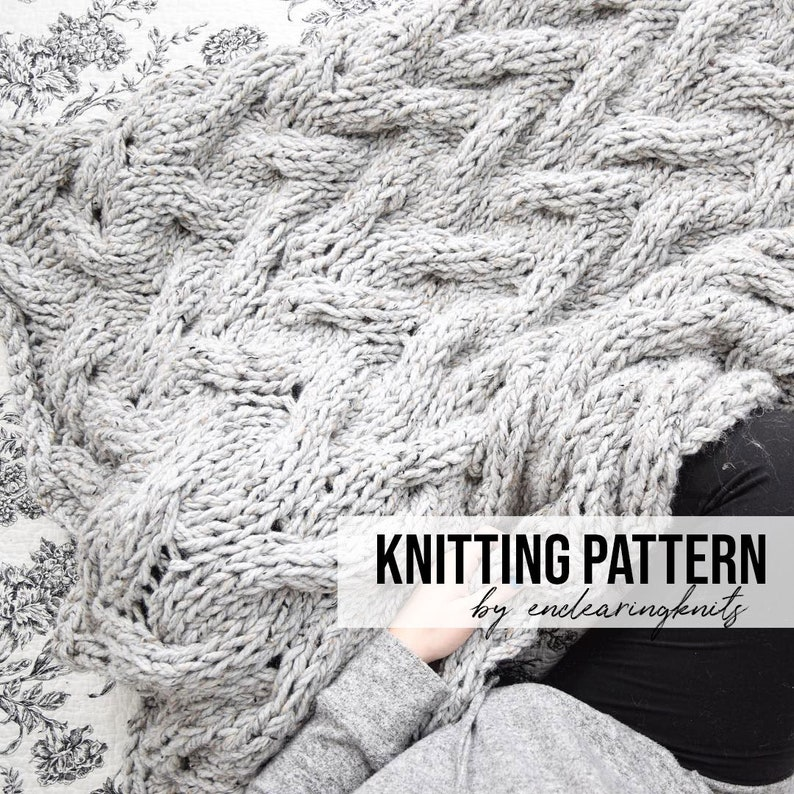 Chunky Blanket Cable Pattern  Knitting Throw Pattern  image 0