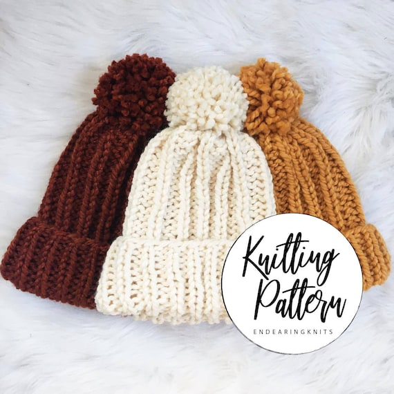 Hat Pattern Knitting Chunky Rib Knit Pom-Pom Mustard Yellow  f13788fe995