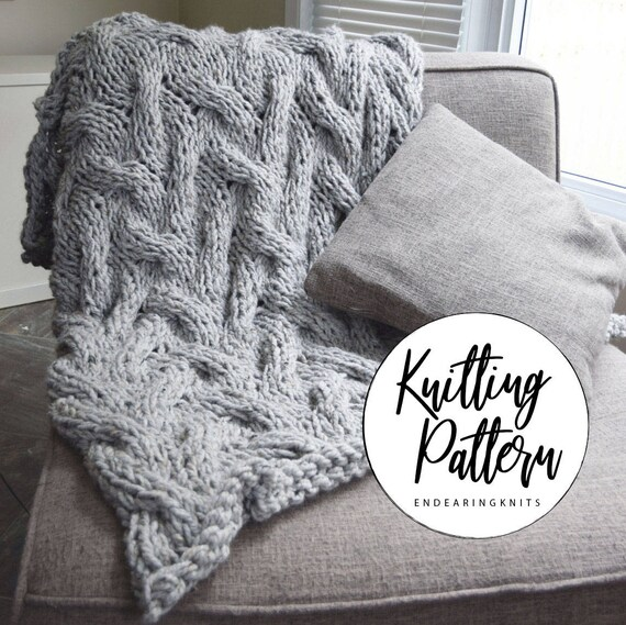 Chunky Blanket Cable Pattern Knitting Throw Pattern Etsy