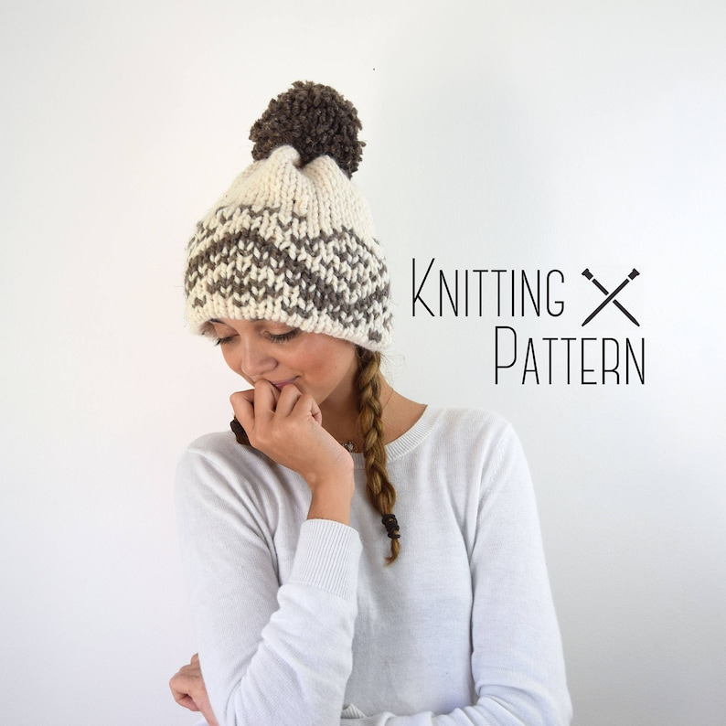 Knit Hat Pattern Knitted Fair Isle Double Brim Tuque  3d39017d5cc