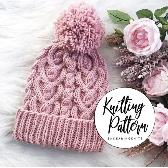 Cable Hat Pattern Heart Cables Knitting Tuque Pattern Knit  ceb52b1e0c8