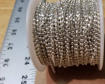 925 Sterling Silver Diamond Cut Ball Chain 2.4mm By the Foot Bulk Available Necklace Bracelet Faceted Sparkle Jewelry