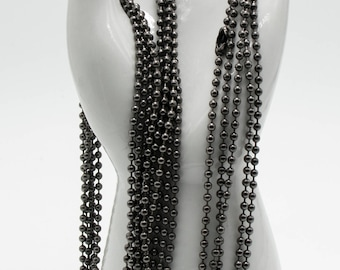 Gun Metal Grey Ball Chain 2.4mm 24 Inch 5 or 10 Pieces Finished + Clasp USA Made Necklace Jewelry