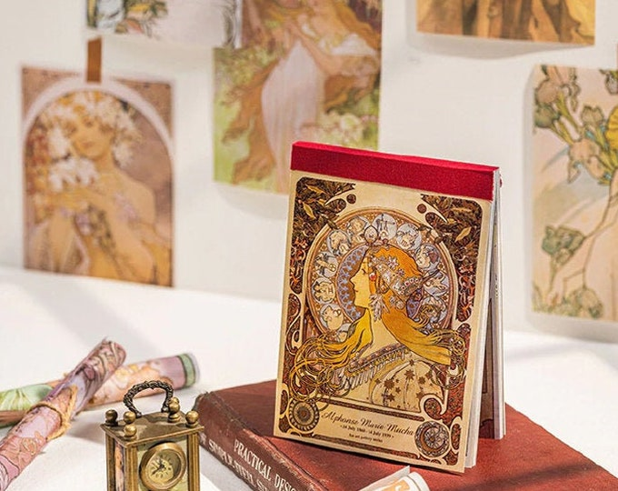 Alphonse Mucha: Paper Sheet Book, Art Nouveau, Women, Pattern, Beautiful