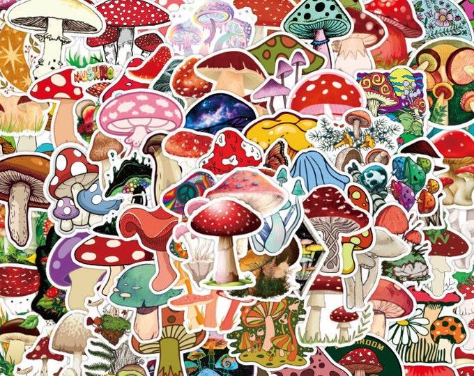 Mushroom Stickers: 100pcs, Waterproof