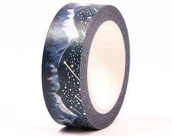 Snow Mountain Washi Tape, 15mm, Silver Foil
