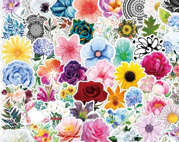 Flower & Leaf Stickers: 100 pcs