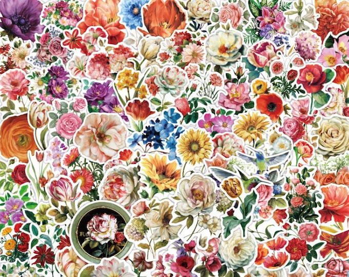 Floral Stickers: 100 pcs, Waterproof