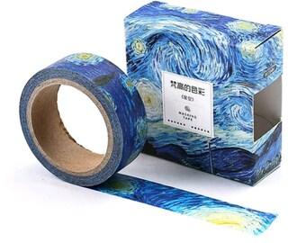 Starry Night, Van Gogh Inspired Washi Tape, Rolling Blue Sky, Deco Art Sticker Tape