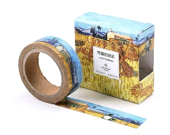 starry night van gogh inspired washi tape rolling blue sky etsy