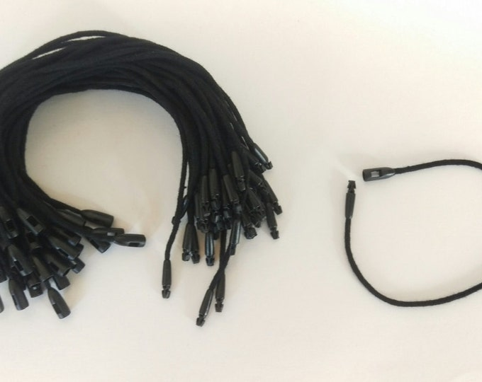 Black Cotton Hang Tag Strings: 100 Bundle