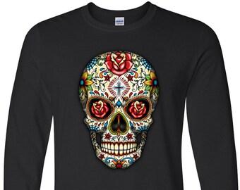 Sugar Skull Roses Long Sleeve T-Shirt Cool Fashion Day Of The Dead Dia De Los Muertos T-Shirts