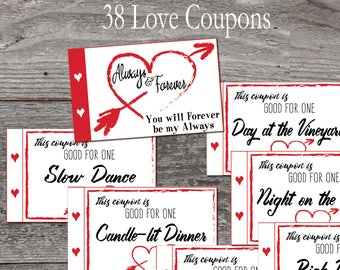 Love coupon book. Valentine Coupon Book. 38 coupons Instant download printable. DIY Coupon book. Valentine gift for him or her. Hearts.