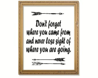 Don't forget where you came from... Inspirational print 2 print options Instant download PDF JPG diy digital wall art. Graduation gift.