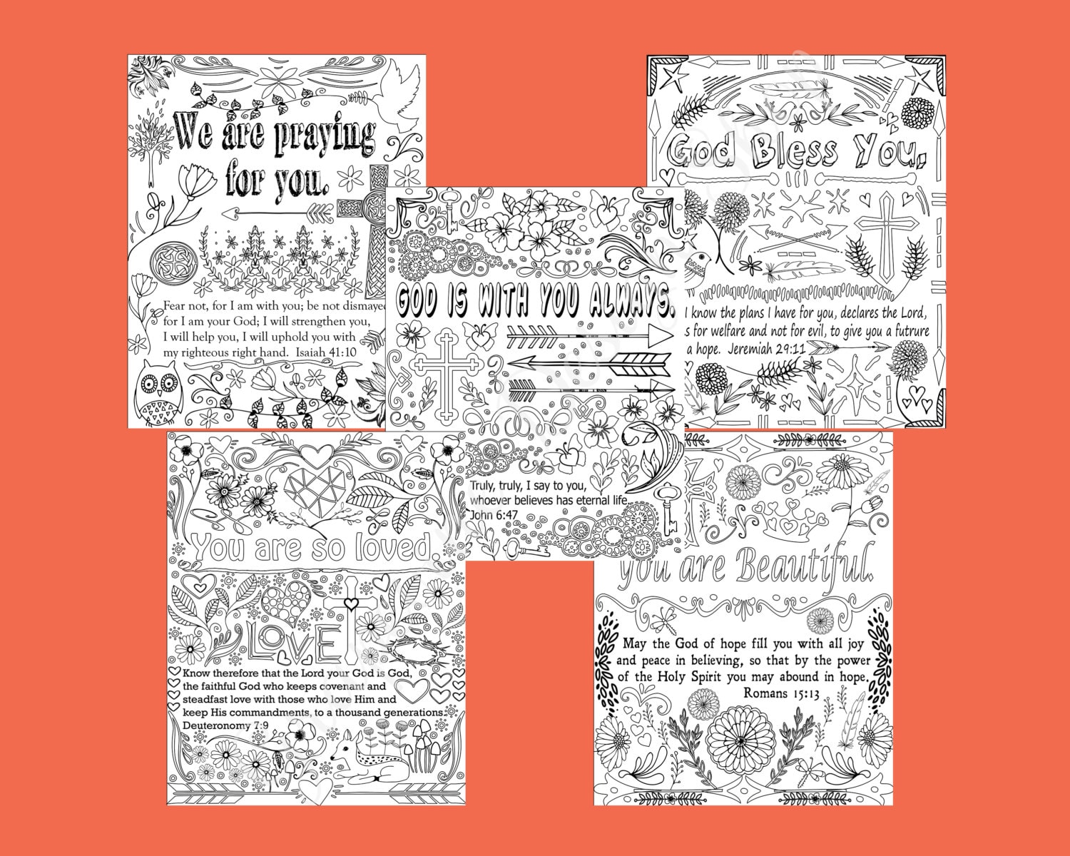 Encouraging words and Bible verse coloring pages. Set of 5 | Etsy