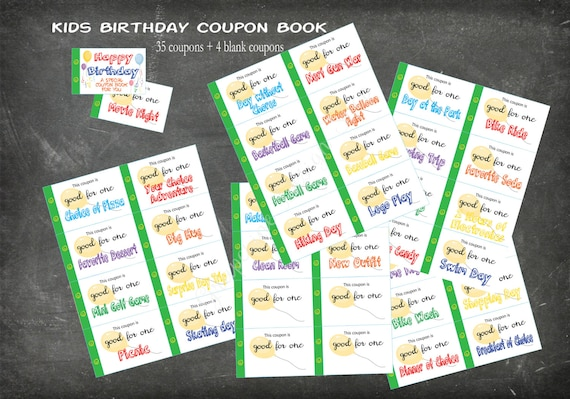 kids happy birthday coupon book 35 coupons 4 blank coupons etsy