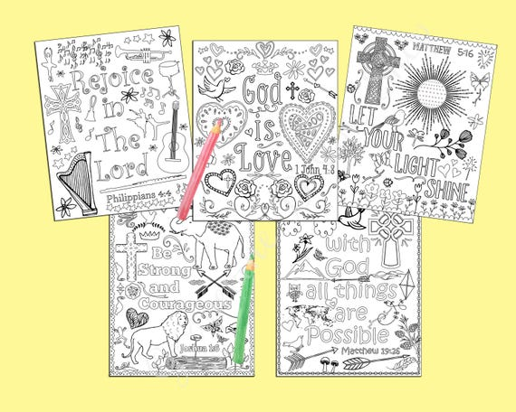Bible Verse Coloring Pages Set Of 5 Instant Download Etsy