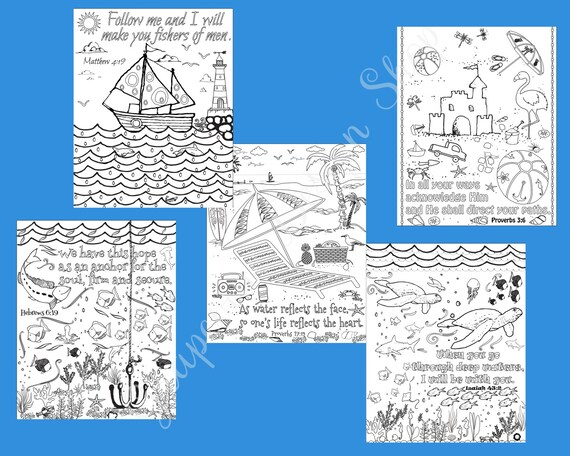 Bible Verse Coloring Pages Set Of 5 Beach Instant Printable Pdf Diy Digital Wall Art Kid Or Adult Coloring Sheets Ocean Coloring Pages