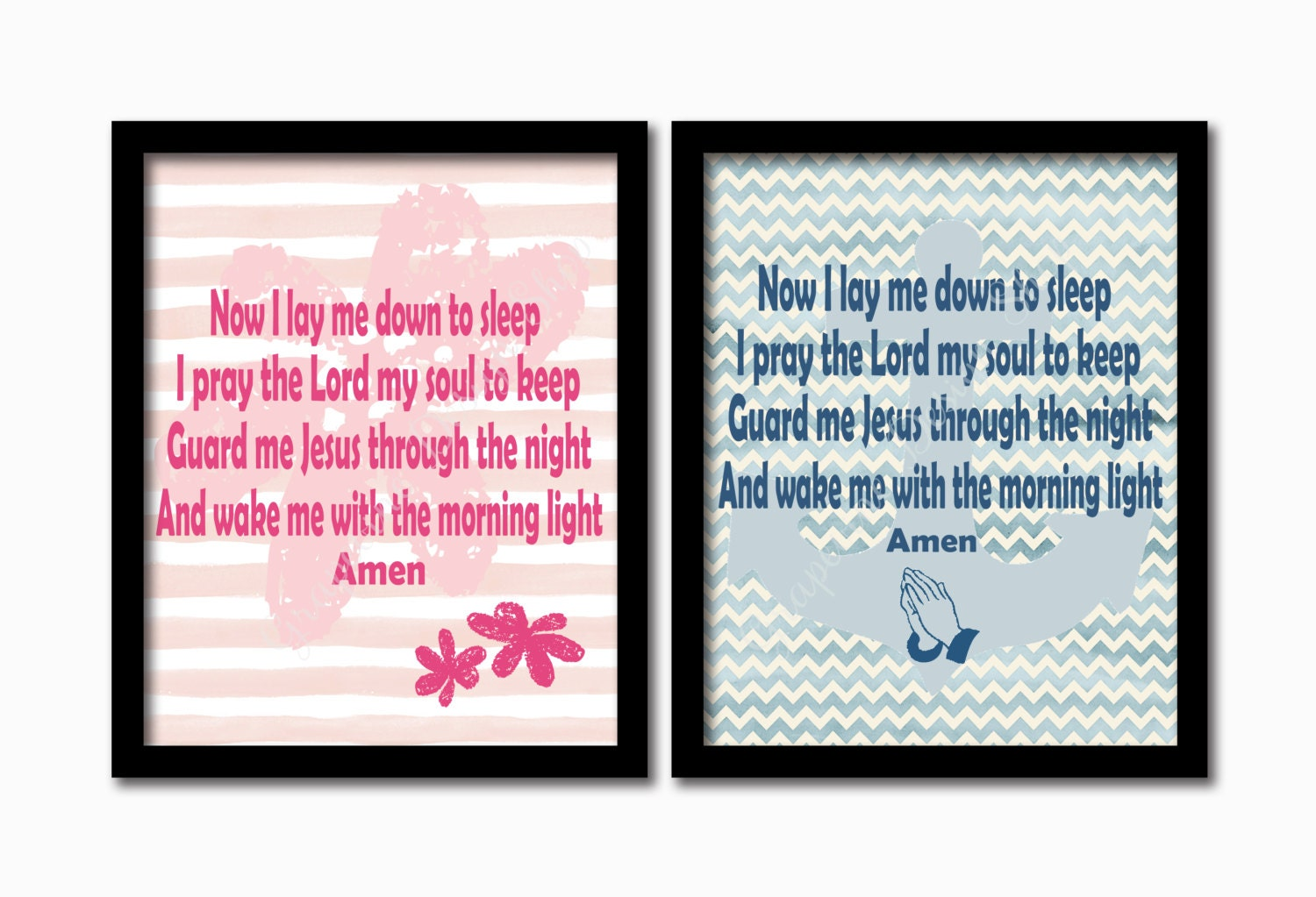 Kids prayer print 2 color option Now I lay me down to sleep... | Etsy