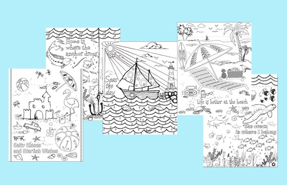 Beach Coloring Pages Set Of 5 Instant Download Printable Pdf Diy Digital Wall Art Kid Or Adult Coloring Sheets Ocean Coloring Pages