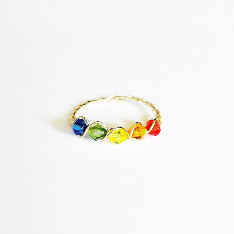 Colourful multistone ring ~ gold ring ~ bohemian ring ~ handmade ~ wire wrap ~ jewelry  ~ stackable~ minimalist ~ starter ring