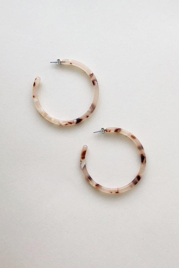 Large Hoop Earrings In Blush Tortoise by Etsy