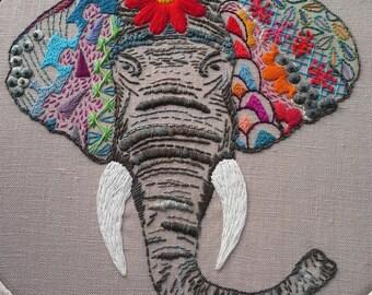 Ellie The Elephant - Embroidery Art - Hoop Art