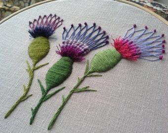 Thistles - Embroidery Art - Hoop Art