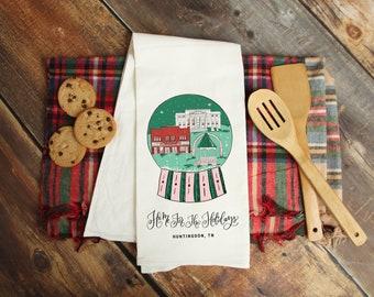 Snow Globe Tea Towel and Wooden Tea Towel LadderXmas Kitchen DecorChristmas Tea Towel  and Wooden Towel Ladder Farmhouse