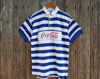 09d353f10a Coca Cola Polo Shirt Rugby Big Logo Coca Cola Stripe Style Shirt Unisex  Small size
