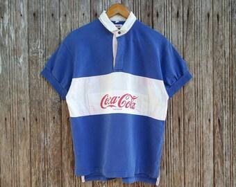 e055c4f71b Coca Cola Polo Shirts Rugby Button Down Style Big Logo Style Medium size