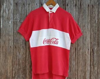 84ceb569c9 Coca Cola Rugby Polo Shirt Big Logo Unisex Medium size