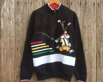 Rare!! Rocky Rabbit Sweatshirt Half zipper Nice Design Medium size