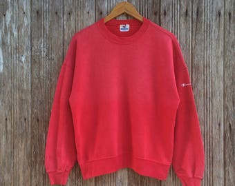 Rare!! Vintage Champion  Sweatshirt Jumper Pullover Nice Design Logo Champion on sleeve Medium size