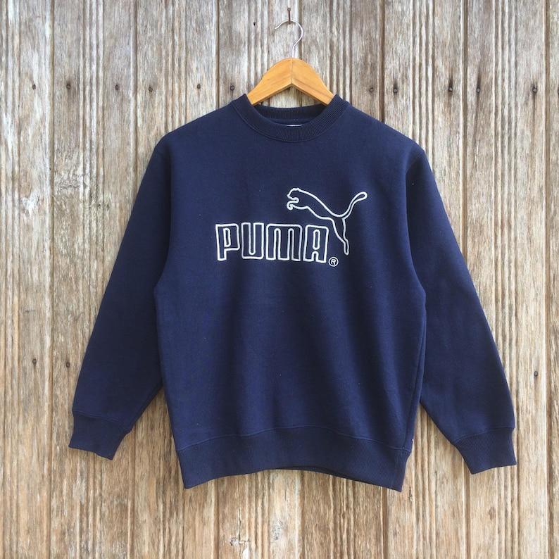 Rare!! Vintage Puma Embroidery big logo Sweatshirt Nice Design Puma sports