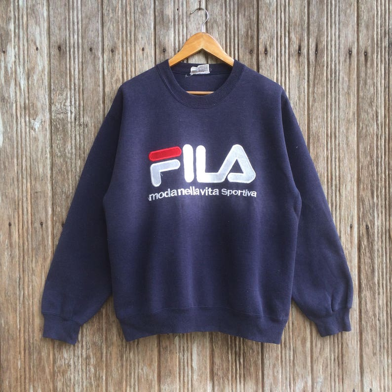 Sweatshirt Fila UnisexeEtsy Broderie Logo Pull Vintage Gros POXiukZ