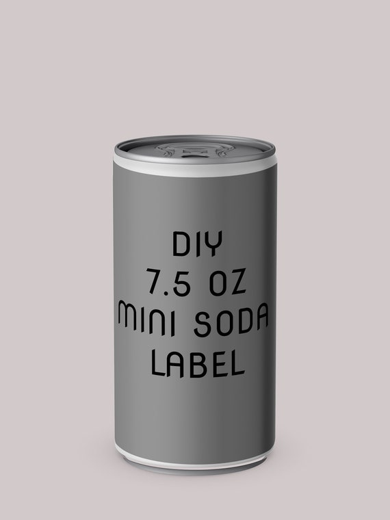 diy mini 7 5 oz soda can label template etsy
