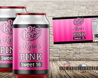 Pink Party Soda Can Labels