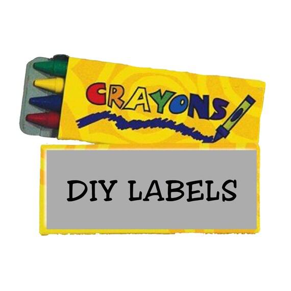 diy 4 pack crayon box label template etsy
