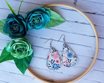 Blue and Red Floral Unique Teardrop Synthetic Printed Leather Earrings